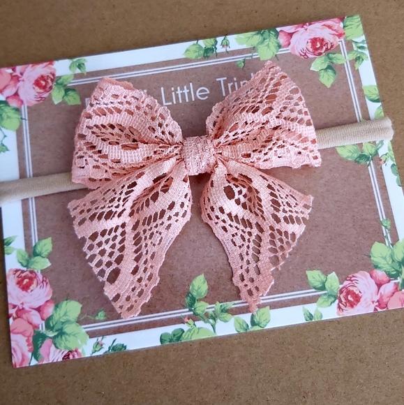 RoseysLittleTrinkets Other - 2 for $10 Peach Baby Bow Headband